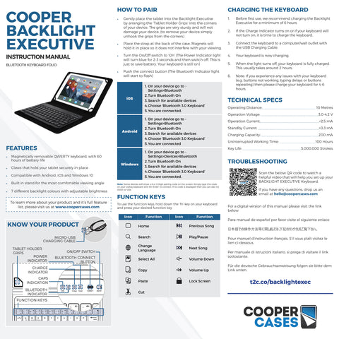 Cooper Backlight Executive Keyboard Folio user manual