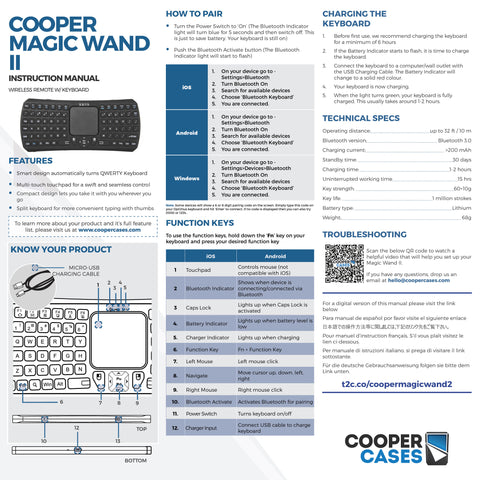 Cooper Magic Wand II Remote keyboard user manual