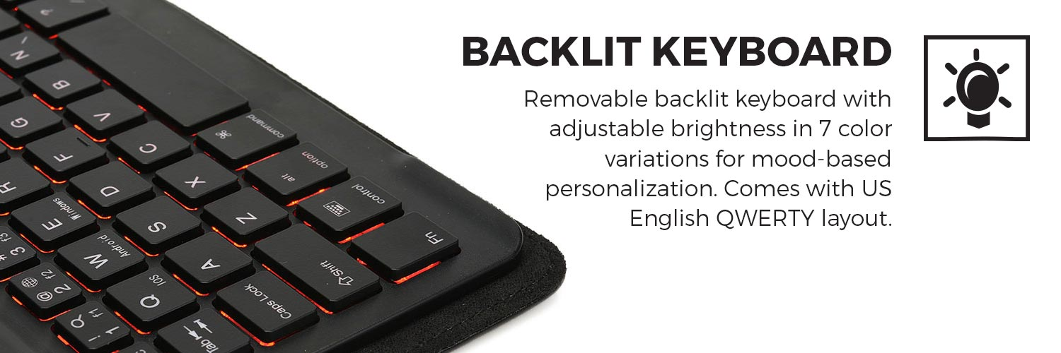 Cooper Backlight Executive Universal Bluetooth Keyboard Folio for 7-8 &  9-10 1 inch Tablets