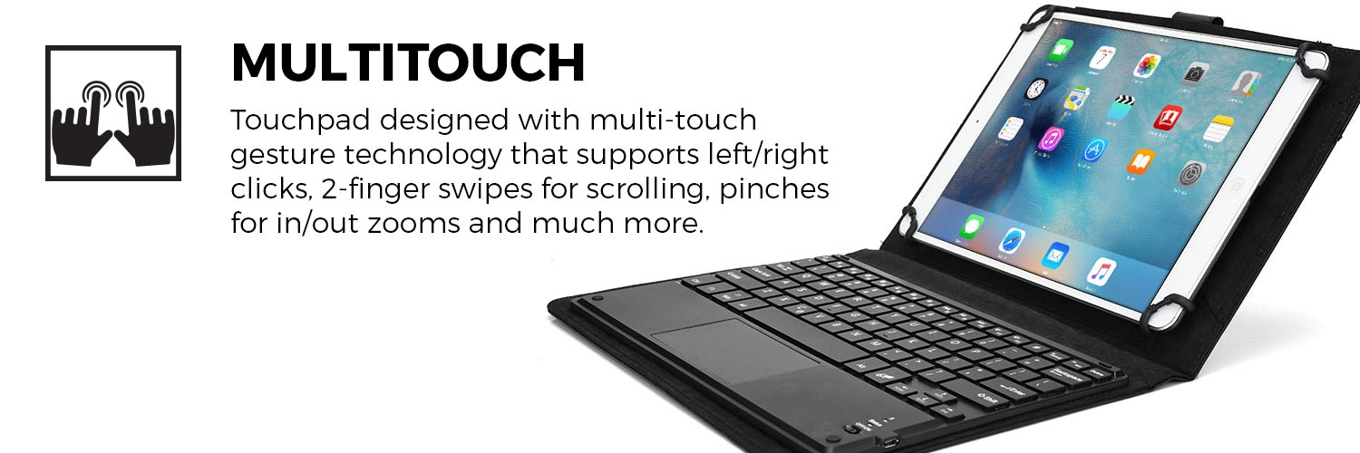 Cooper Touchpad Executive Bluetooth Keyboard Folio for 7-8'' / 8-8.9'' / 9.7-10.5'' Tablets
