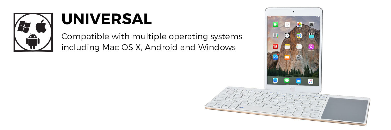 CPR192WHT100 Slimkey Universal Wireless Bluetooth Keyboard with Touchpad Trackpad