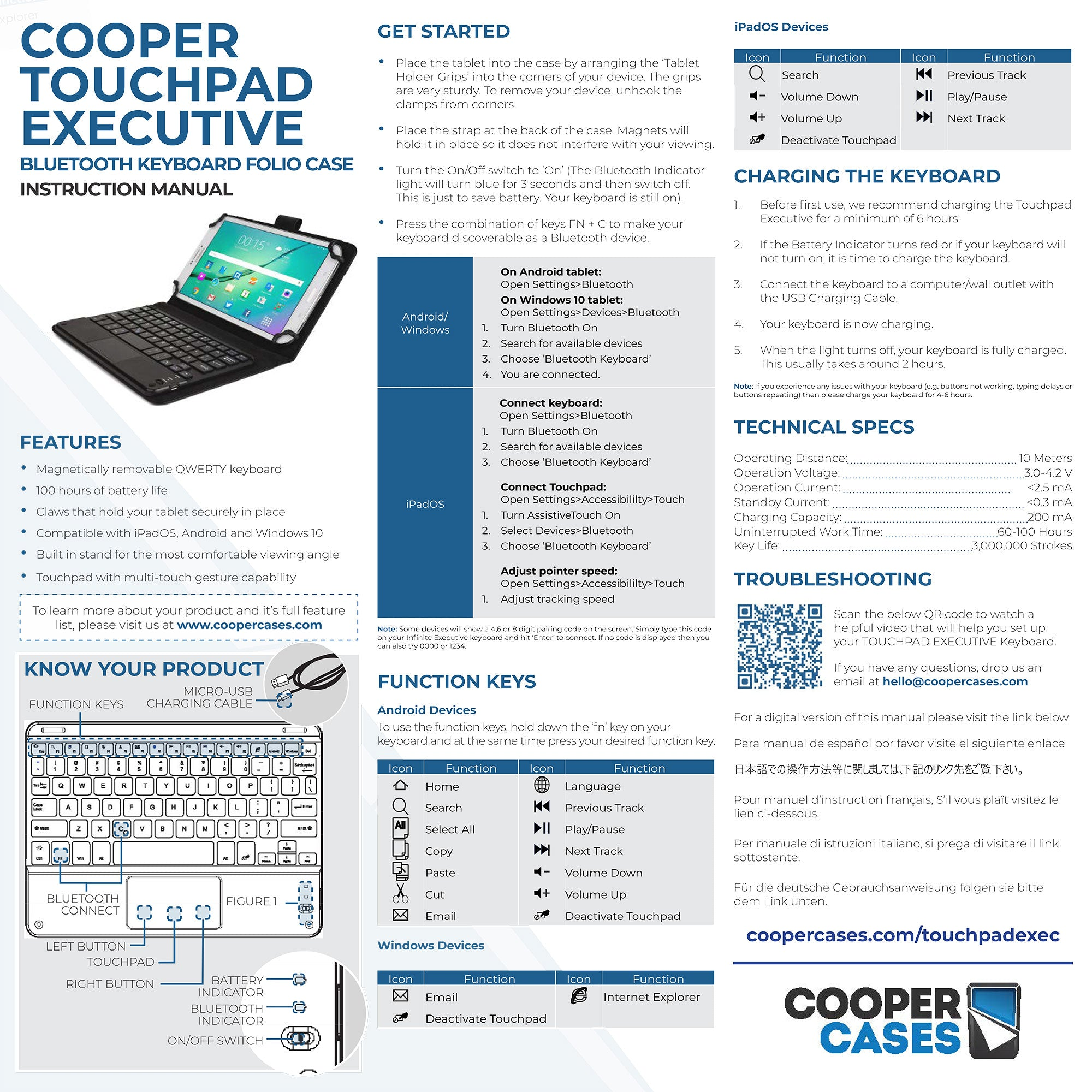 Cooper Touchpad Executive keyboard user manual