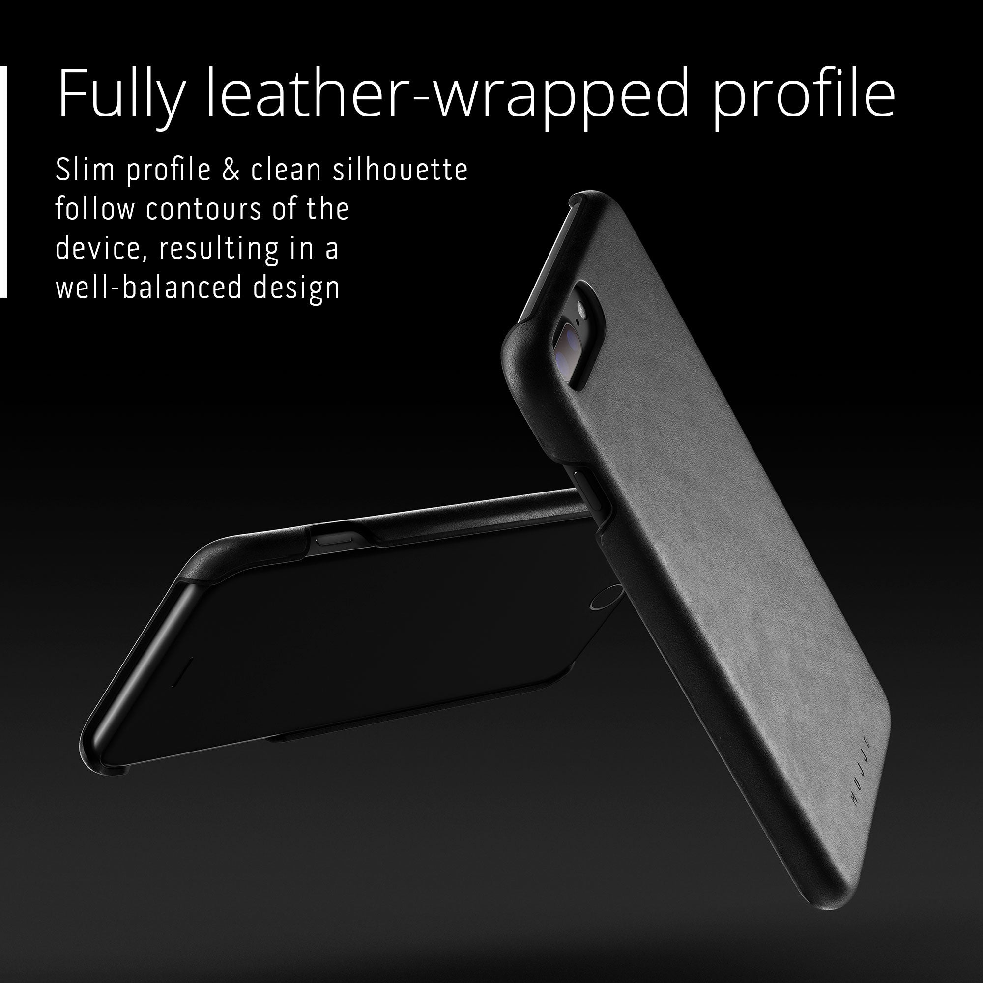 Mujjo Moulded Edge Leather case for Apple iPhone 8 Plus, iPhone 7 Plus