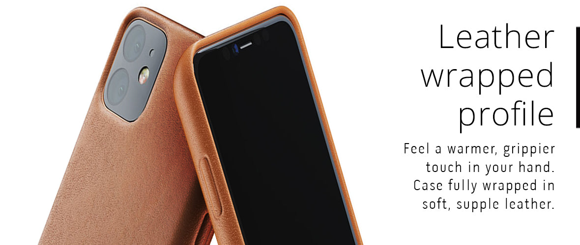 Leather wrapped profile for iPhone 11 case