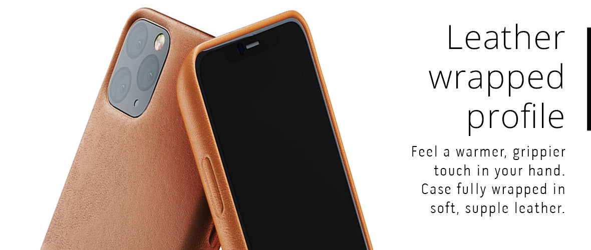 Leather wrapped profile case for iPhone 11 Pro Max