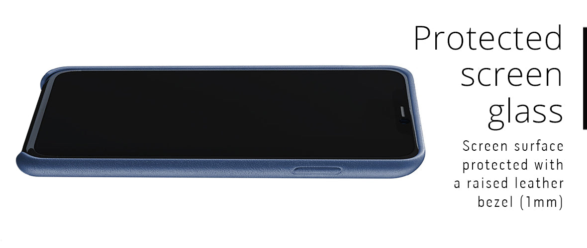 Protected glass screen with raised leather lip bezel for iPhone 11 Pro Max