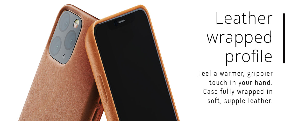 Leather wrapped profile for iPhone 11 Pro case
