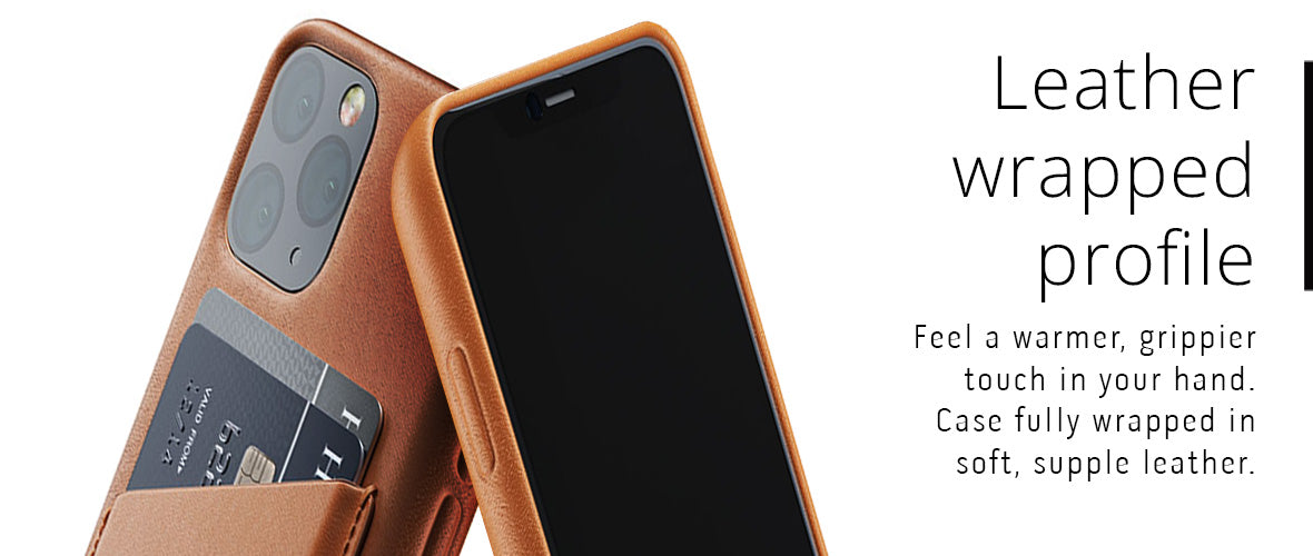 Leather wrapped profile case for iPhone 11 Pro