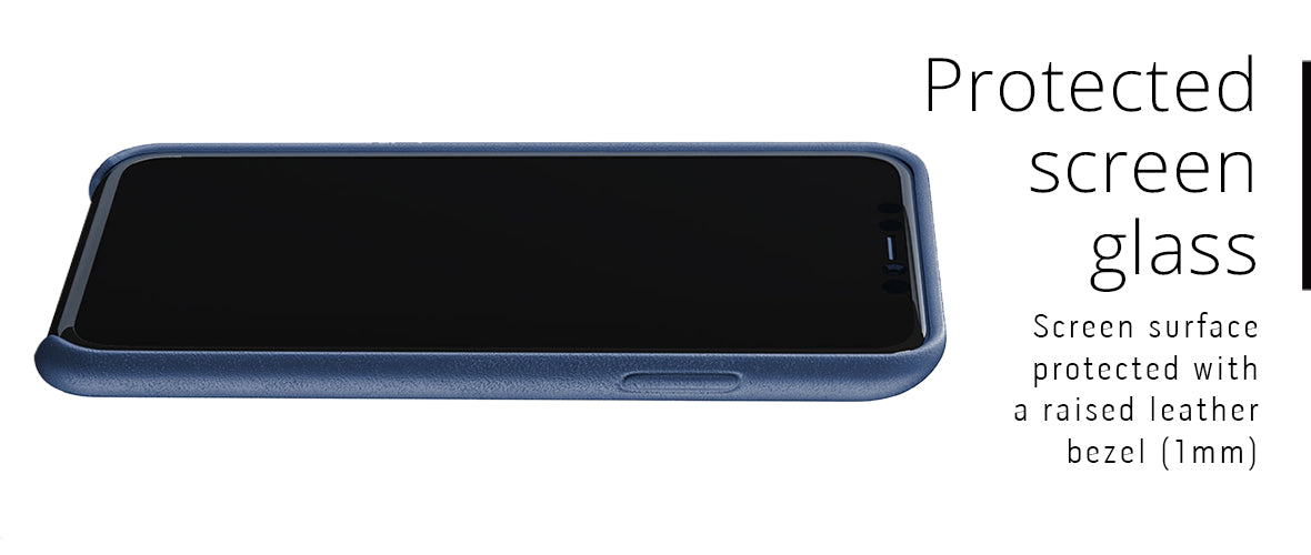 Screen glass protected with leather lip case for iPhone 11