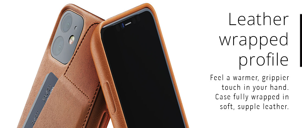 Leather wrapped profile case for iPhone 11