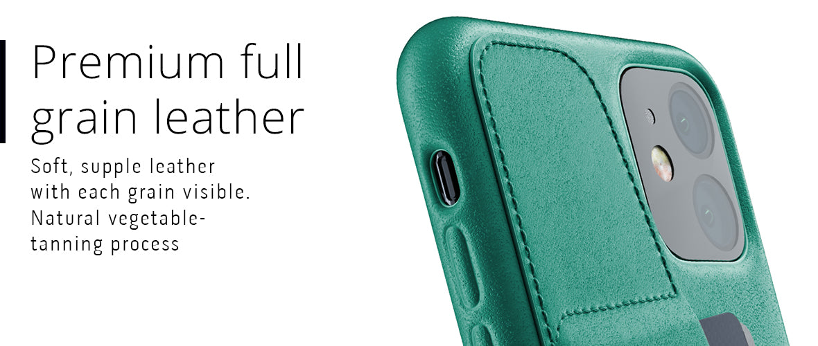Premium full-grain leather case for iPhone 11