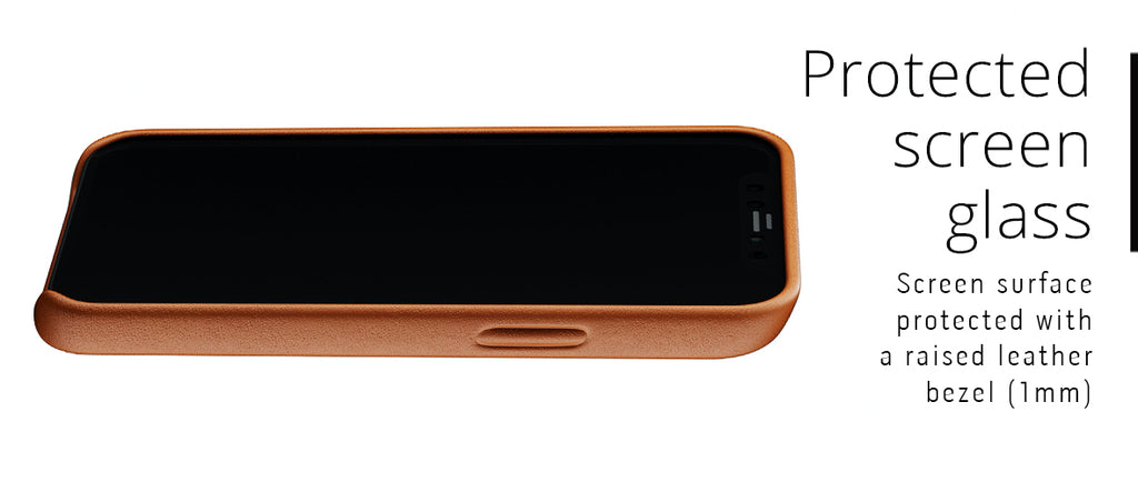 Protected glass screen with leather lip for iPhone 12 mini case
