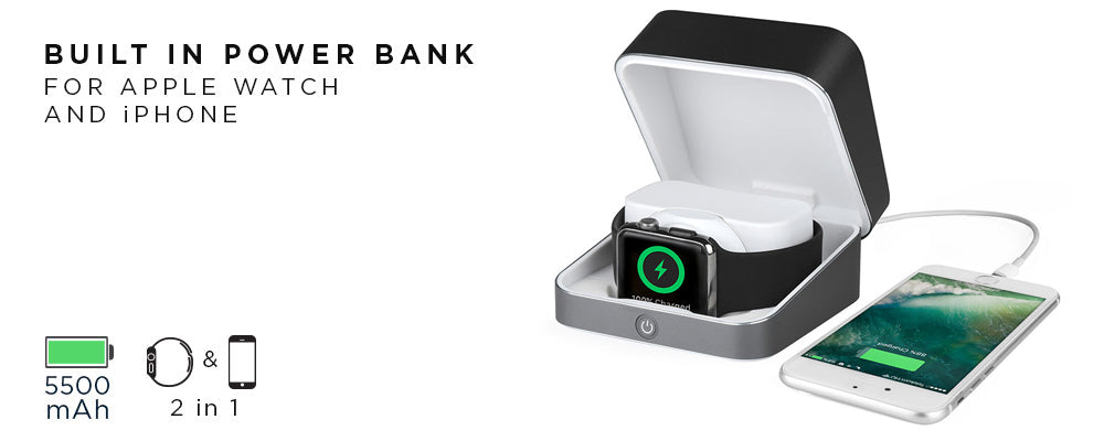 Built-in power bank for Apple Watch case