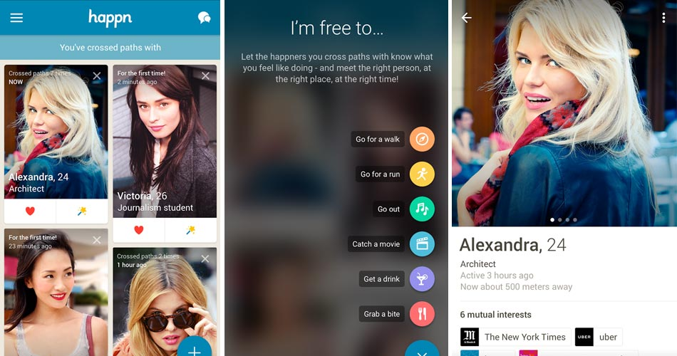 Happn meetup app for tablet and smarphone
