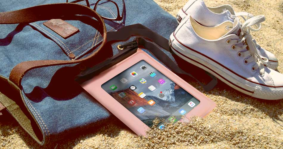 Waterproof tablet cases on the beach