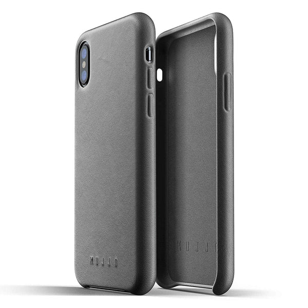 Mujjo Full Leather case for Apple iPhone Xs, iPhone X - Gray