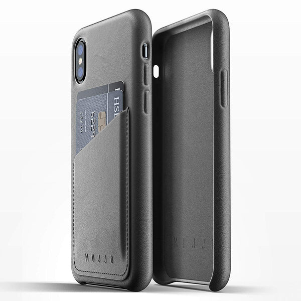 Mujjo Full Leather Wallet case for Apple iPhone Xs, iPhone X - Gray