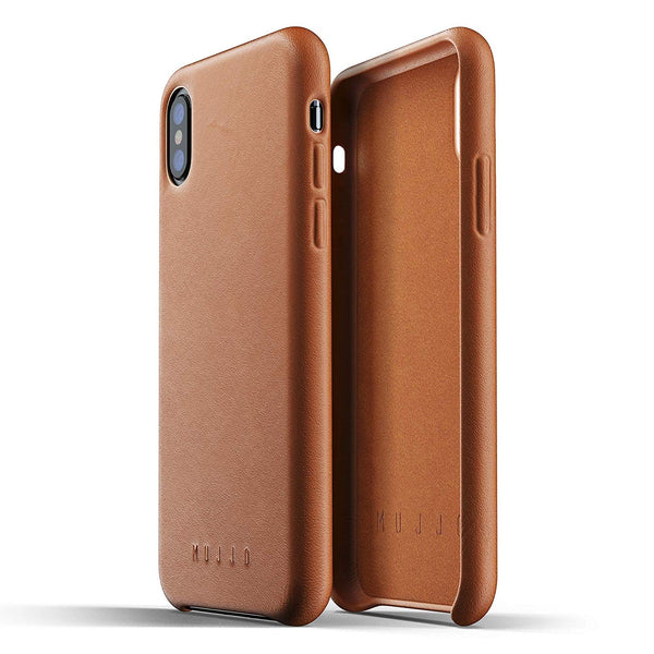 Mujjo Full Leather case for Apple iPhone Xs, iPhone X - Tan