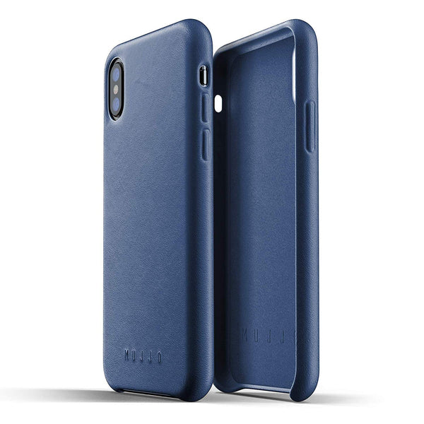 Mujjo Full Leather case for Apple iPhone Xs, iPhone X - Morocco Blue