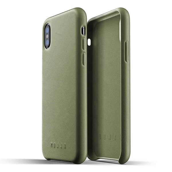 Mujjo Full Leather case for Apple iPhone Xs, iPhone X - Olive Green
