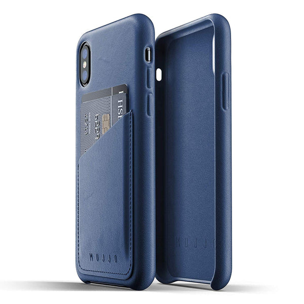 Mujjo Full Leather Wallet case for Apple iPhone Xs, iPhone X - Morocco Blue