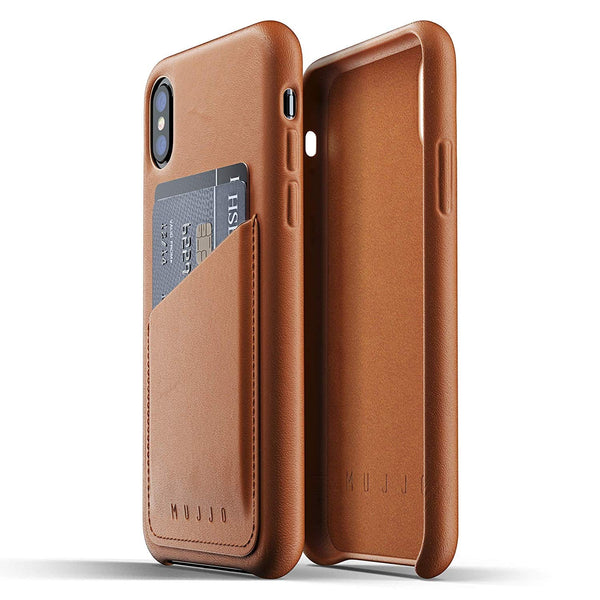Mujjo Full Leather Wallet case for Apple iPhone Xs, iPhone X - Tan