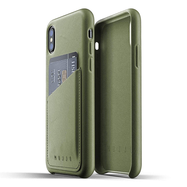 Mujjo Full Leather Wallet case for Apple iPhone Xs, iPhone X - Olive Green