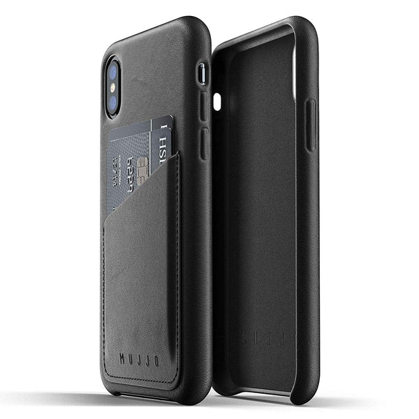 Mujjo Full Leather Wallet case for Apple iPhone Xs, iPhone X - Black