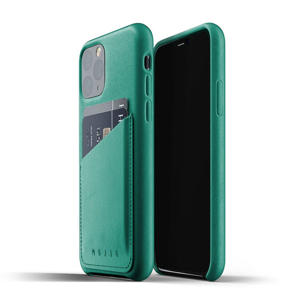 Mujjo Leather Wallet case for iPhone 11 Pro in Alpine Green