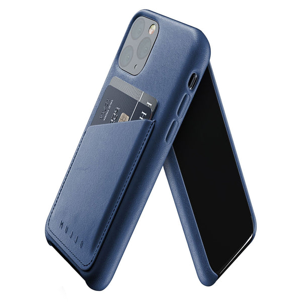 Mujjo Leather Wallet case for iPhone 11 Pro in Monaco Blue