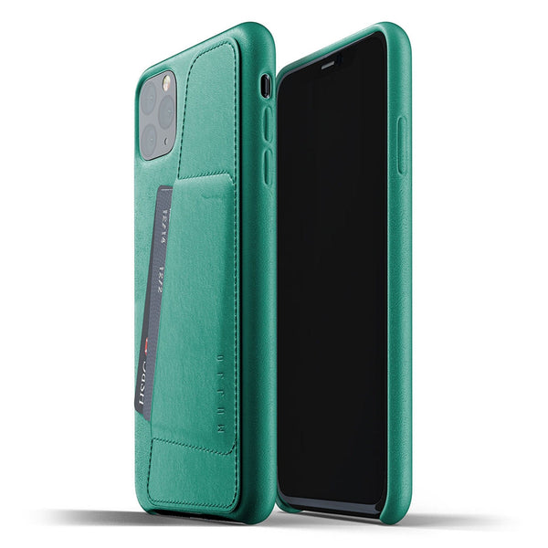 Mujjo Full Leather Wallet case for iPhone 11 Pro Max in Alpine Green