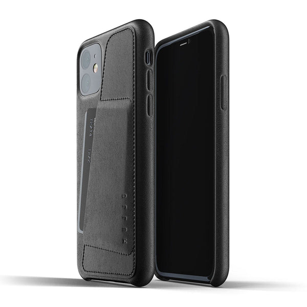 Mujjo Full Leather Wallet case for iPhone 11 in Black