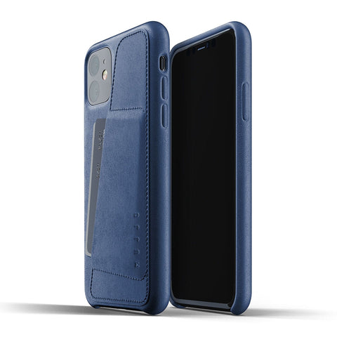 Mujjo Full Leather Wallet case for iPhone 11 in Monaco Blue