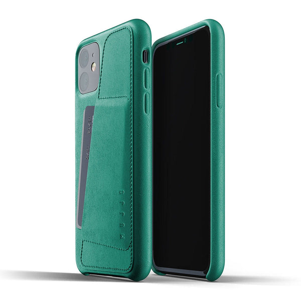 Mujjo Full Leather Wallet case for iPhone 11 in Alpine Green