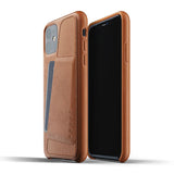 Mujjo Full Leather Wallet case for iPhone 11 in Tan