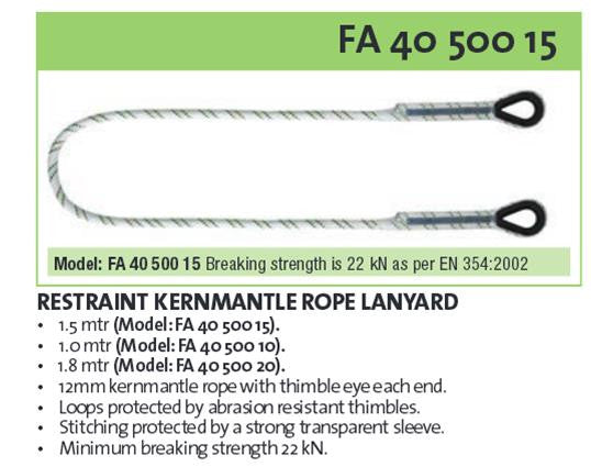 Kratos Fall Restraint & Work Positioning Lanyards - Lifting Slings