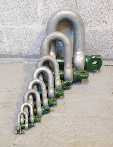 Shackles - Green Pin Standard Alloy Dee 'D' Shackles Screw Pin - Lifting Slings