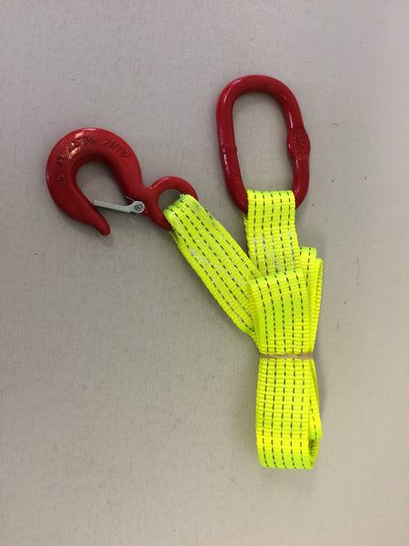 Lightweight Hi Visibility Winch Strap - 2m - Hook & Ring - Lifting Slings