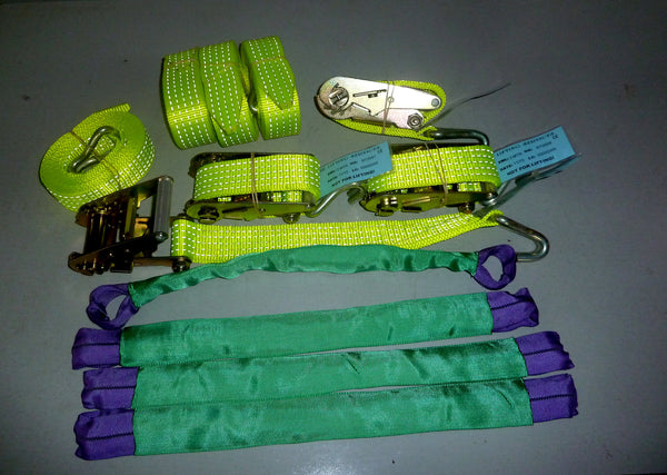 Hi-Visability Vehicle Transporter Recovery Straps - Qty 4 - 4m / 50mm - Lifting Slings