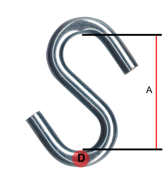 M10 'S' Hook Mild Steel Zinc Plated - 10mm