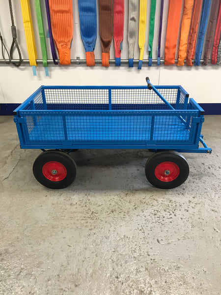 HEAVY DUTY 1000kg site trolley/cart/ truck 4 WHEEL BOGIE with drop down sides - SOLID WHEELS