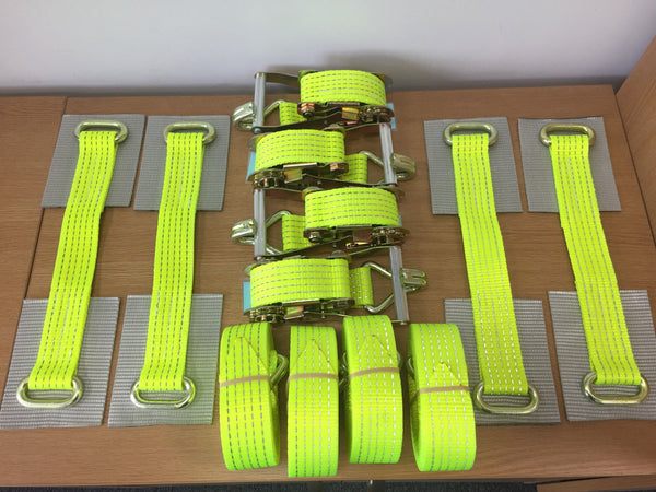 4 x Car Trailer Transporter Hi Vis Recovery Straps-Truck-Heavy Duty-Alloy Wheel - Lifting Slings