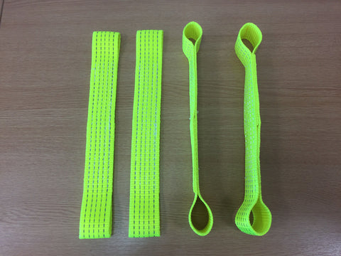 4 x Hi Vis Recovery Alloy Car Link Straps - Lifting Slings
