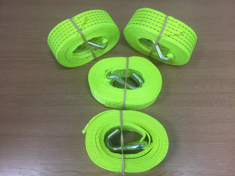 4 x 5t 4mtr Hi Vis Recovery Ratchet Alloy Wheel Replacement Straps - Lifting Slings