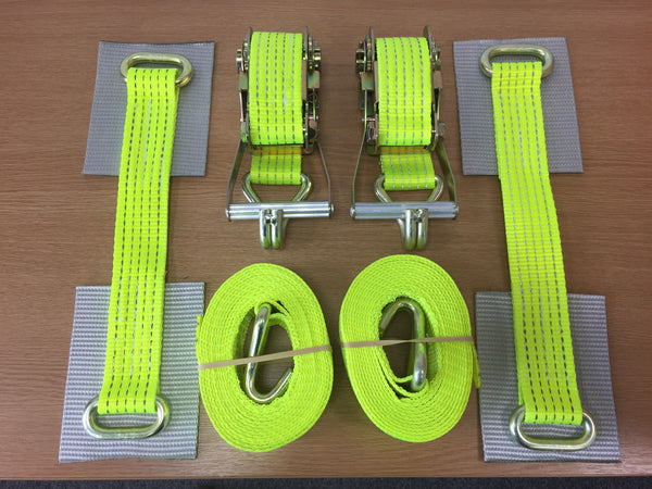 2 x Car Trailer Transporter Hi Vis Recovery Straps-Truck-Heavy Duty-Alloy Wheel - Lifting Slings
