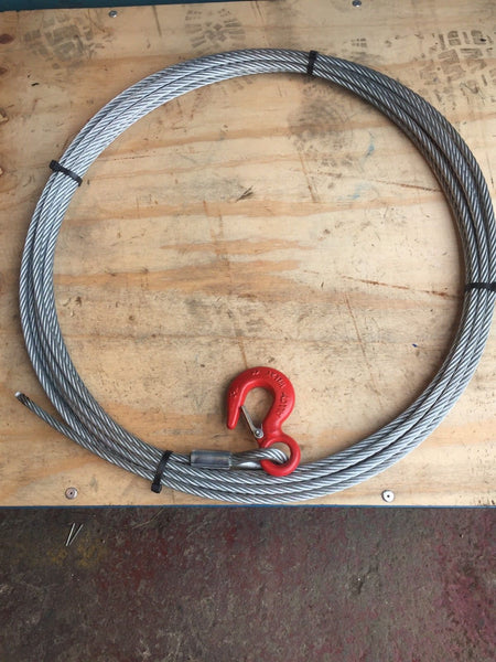 Winch Wire Rope And Hook 15mtrs X 9mm Recovery / Off-road - Lifting Slings