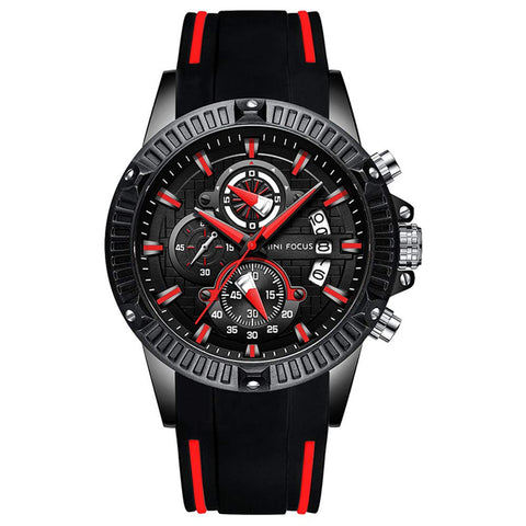 Mini Focus Men's Sport Watch Multifunctional:Chronograph Date. Waterproof Luminous Military Big Dial Rubber Strap Analogue Wrist Watch (Husband's New Year Gift)