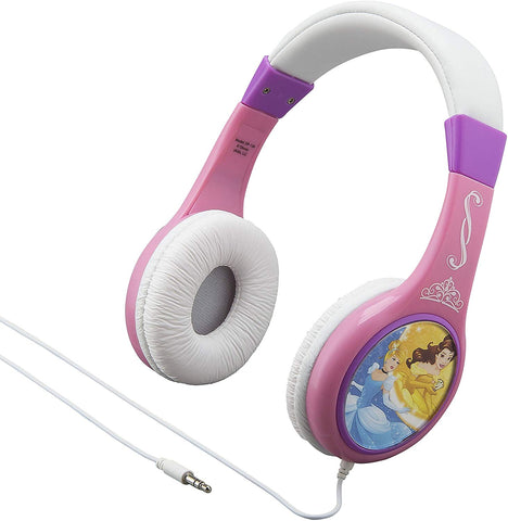 eKids Disney Princess Over the Ear Wired Headphones - Pink/ White