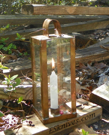 Copper Lantern Surviving with Candles