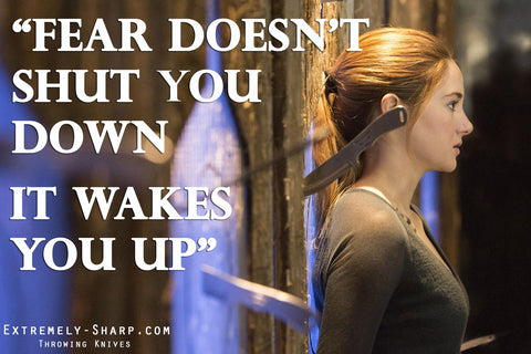 Divergent Quote | Fear doesn't shut you down, it wakes you up.